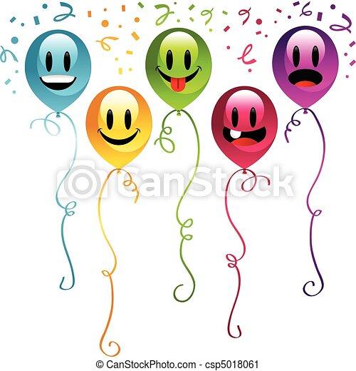 fête, smiley, ballons - csp5018061