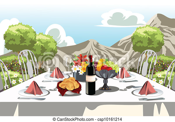 Fête, table, jardin, arrangement. Jardin, illustration,... clipart ...