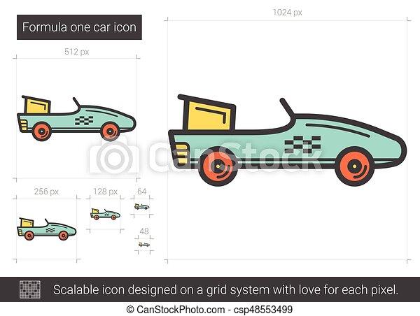 Fórmula 1 icono de línea de autos. - csp48553499