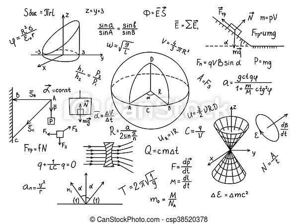 Fórmulas de física dibujadas a mano educación de conocimientos científicos. - csp38520378