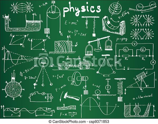 Fórmulas físicas y fenómenos en la junta escolar - csp9371853