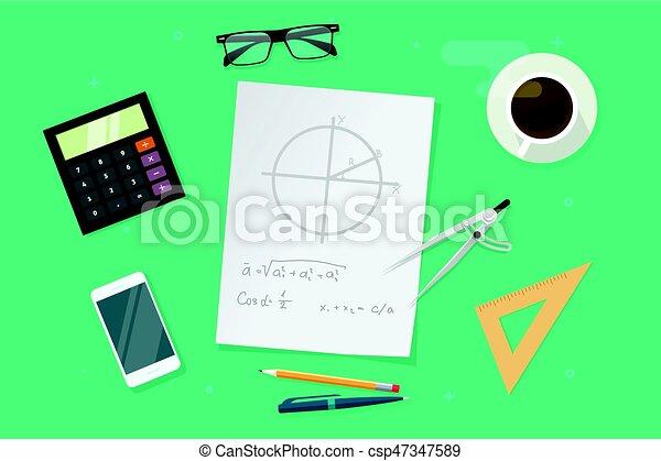 Fórmulas, idea, gráficos, papel, vista, hogar, lección, educación ...