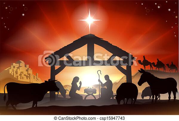 födelse, jul scen - csp15947743