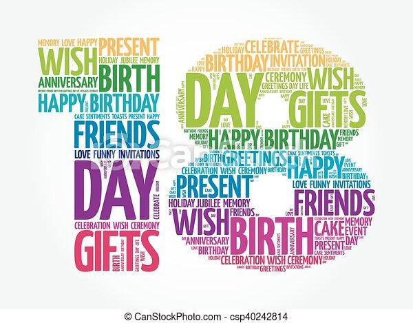 födelsedag 18 Födelsedag, 18, ord, moln, lycklig. Begrepp, ord, collage, 18  födelsedag 18