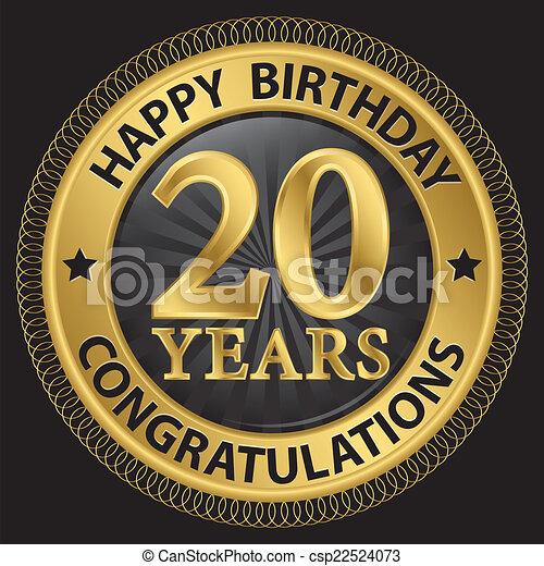 födelsedag 20 år Födelsedag, gratulationer, 20, guld, illustration, år, vektor  födelsedag 20 år