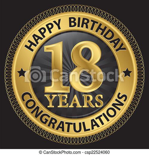 18 års gratulationer Födelsedag, gratulationer, guld, 18, illustration, år, vektor  18 års gratulationer