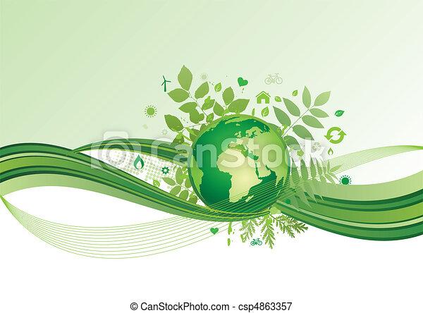 földdel feltölt, környezet, zöld, bölcsész, ikon - csp4863357
