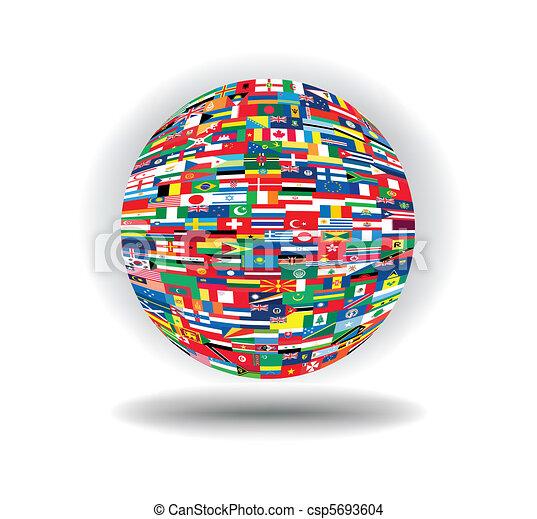 földgolyó, zászlók - csp5693604