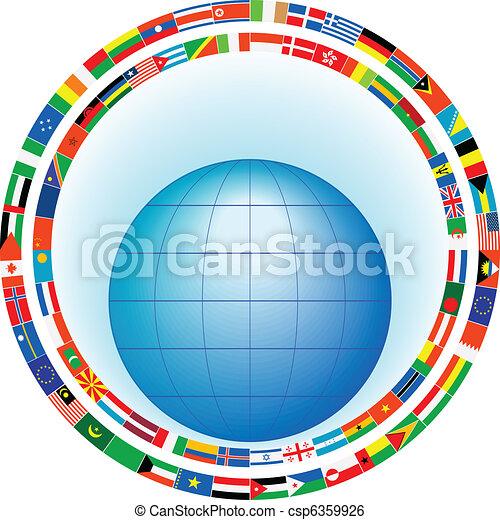 földgolyó, zászlók, keret - csp6359926