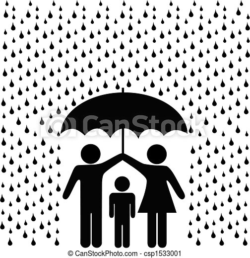 föräldrar, skydda, paraply, regna, barn - csp1533001