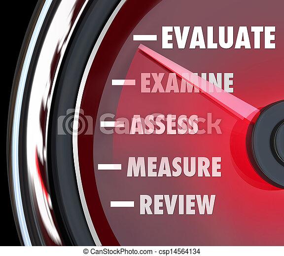 föreställning granska, utvärdering, mätare, hastighetsmätare - csp14564134