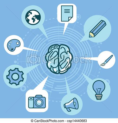 föreställning ikon, kreativitet, -, hjärna, vektor - csp14440683