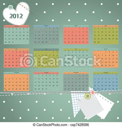 första, söndag, dag, 2012, början, year., kalender, vecka - csp7428586
