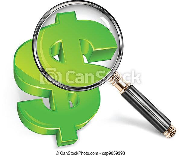 förstorar, dollar, grön, &, glas - csp9059393