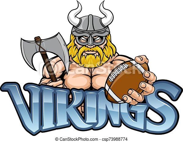 fútbol, deportes, norteamericano, viking, mascota - csp73988774