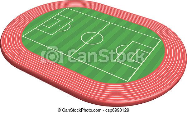 Un campo de fútbol tridimensional - csp6990129