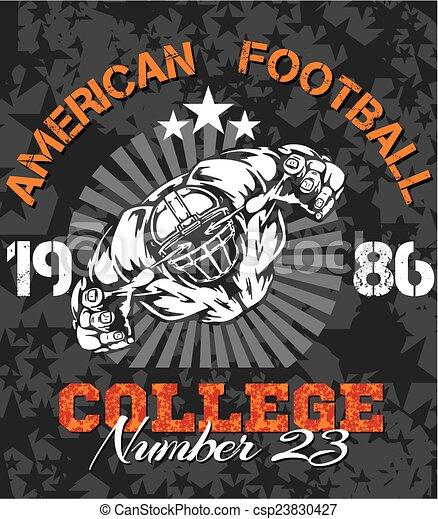 Fútbol americano, ilustración vectorial de camiseta - csp23830427