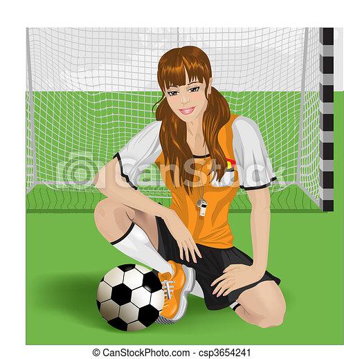 Una chica de fútbol sentada - csp3654241
