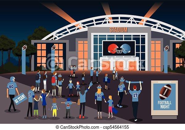 Los fans del fútbol americano van a la ilustración del estadio - csp54564155