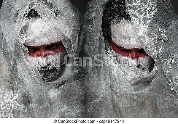 függöny, befűz, alkat, maszk, befedett, white piros, ember - csp19147944