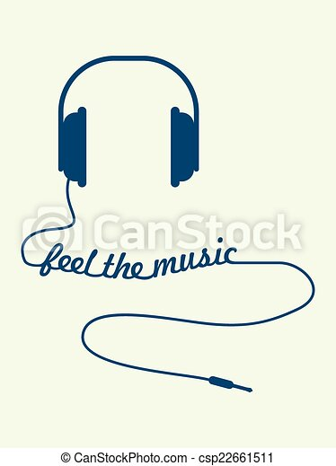Fühlen, musik. Draht, geschaffen, fühlen, text, kopfhörer,... Vektor ...