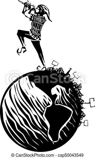 Piperoo !!! Dudelsack, der Känguru-Sprünge spielt, indem er die Rohre  spielt