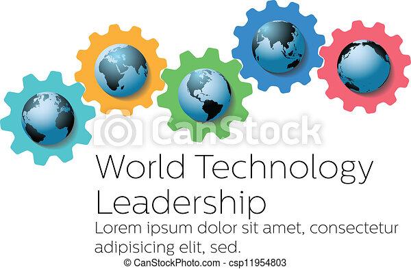 führer, global, zahnräder, welt, technologie - csp11954803