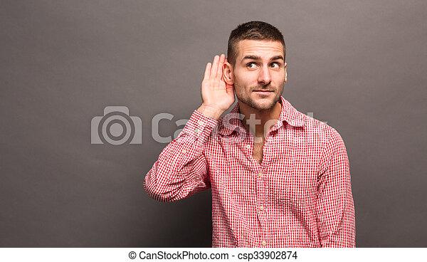 fül, övé, ember, kéz - csp33902874