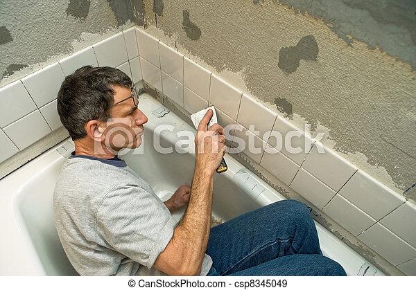 fürdőszoba, cserepezés - csp8345049