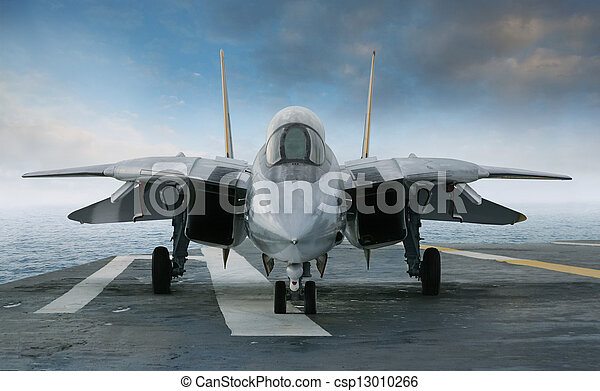 F-14 jet fighter on an aircraft carrier deck viewed from front - csp13010266