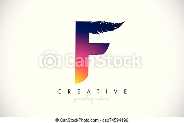 F Feather Letter Logo Icon Design With Feather Feathers Creative Look Vector Illustration - csp74594196
