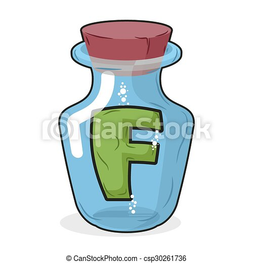 F in bottle for experiments. Letter in vessel. Laboratory research vessel. Vector illustration letter f for chemical tests. - csp30261736