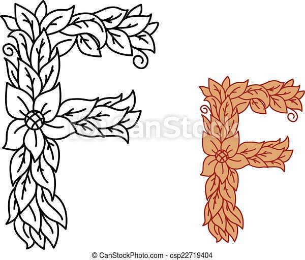 Fiori Bianchi 11 Lettere.F Maiuscolo Foglie Disegno Lettera Floreale Allacciato Bio