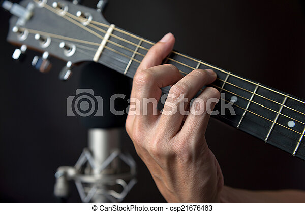 F sharp chord fingering on guitar. Close-up of the fingering for an ...