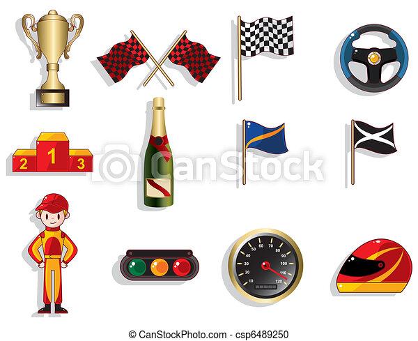 f1, jogo, corrida carro, caricatura, ícone - csp6489250