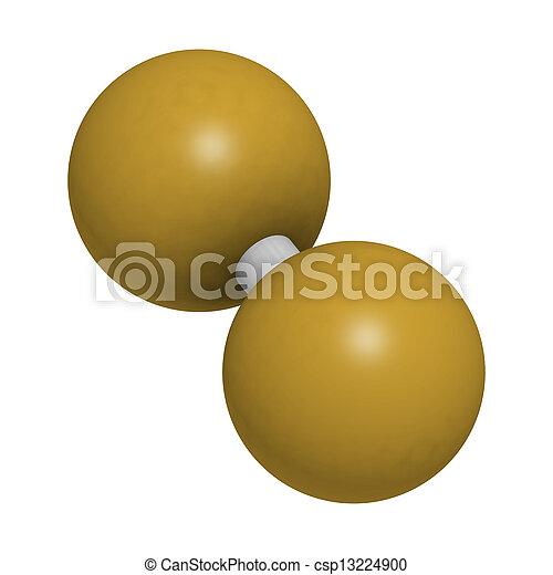 (f2), molecolare, degli elementi della natura, fluorine, model. - csp13224900