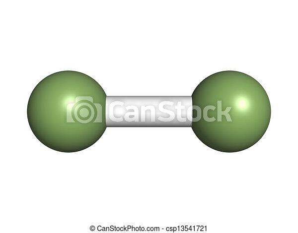(f2), molecolare, degli elementi della natura, fluorine, model. - csp13541721