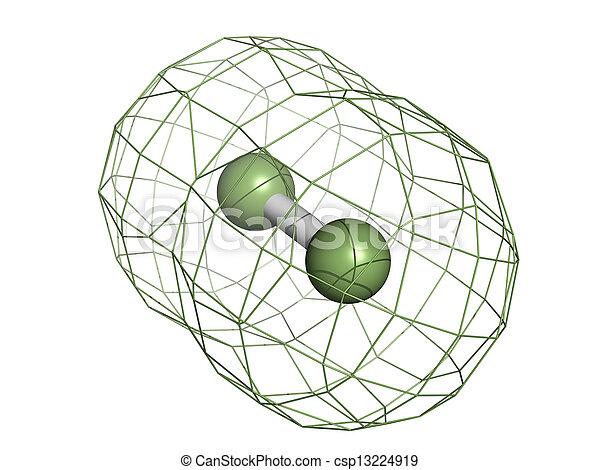 (f2), molecolare, degli elementi della natura, fluorine, model. - csp13224919