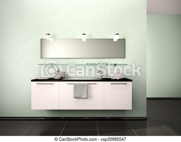 Fürdőszoba, mosdókagyló, modern, mód, ábra, belső,... rajz ...