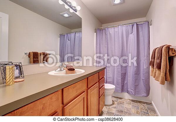 Fürdőszoba padló, levendula, belső, cserép, curtain.... stock ...