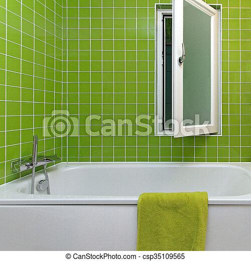 Fürdőszoba, zöld. Fürdőszoba, modern, zöld, csempeborítás ...