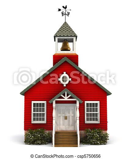 façade, école, rouges - csp5750656