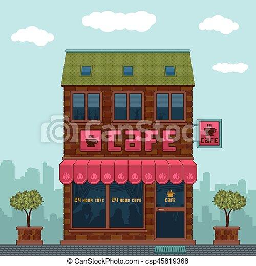 façade, café - csp45819368