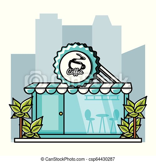 façade, magasin, café, restaurant - csp64430287