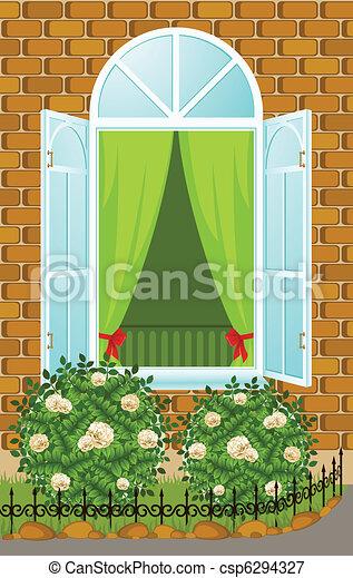 façade, maison, fenêtre, ouvert - csp6294327