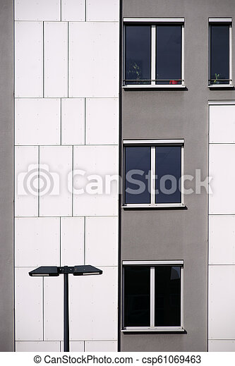façade, maison, moderne, lanterne