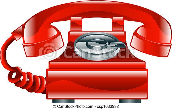 façonné, vieux, téléphonez icône, rouges, brillant - csp1683932