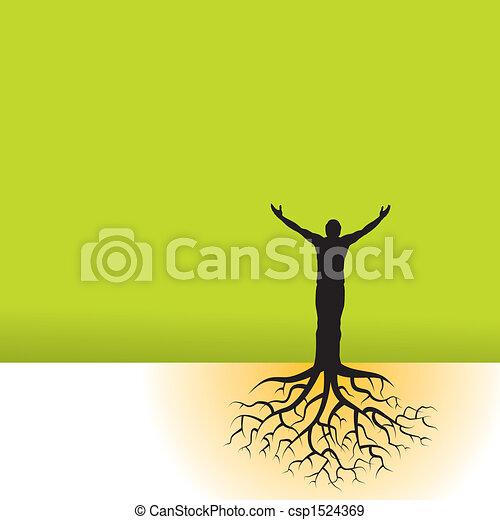 fa, gyökér, ember - csp1524369