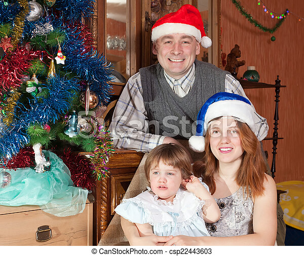 fa, három, család christmas - csp22443603