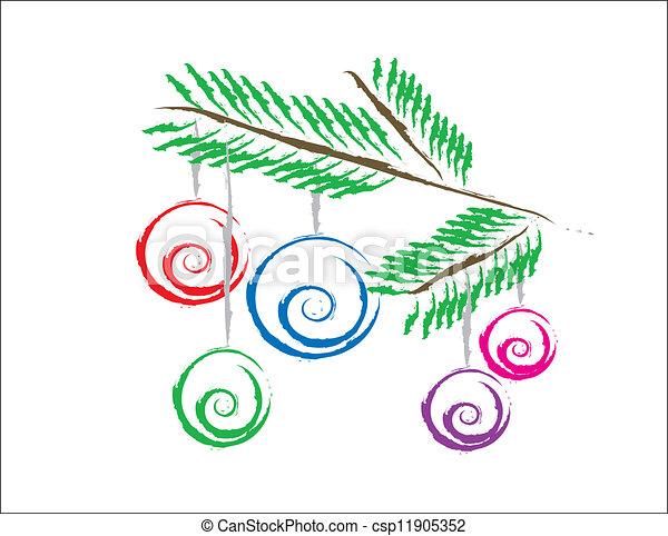 fa, karácsonyi díszek - csp11905352